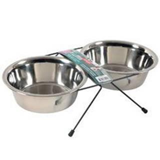 Miska nerez stojan+2 misky pes STEEL 1,3l Zolux