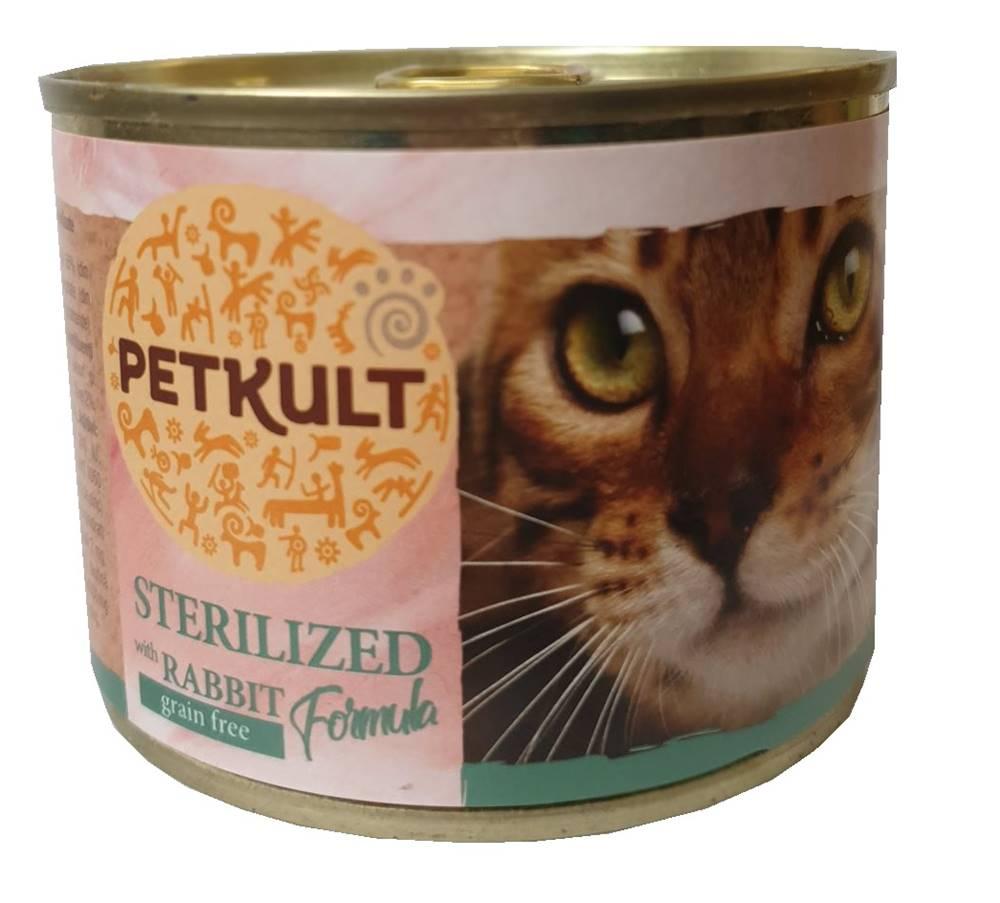 Petkult PETKULT  cat konz. STERILISED  králík - 185g