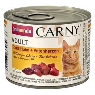 ANIMONDA cat konzerva CARNY hovädzie / kura / kačacie srdce - 200g