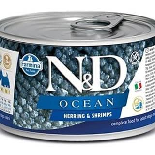 N&D dog OCEAN konz. ADULT MINI herring/shrimps - 140g