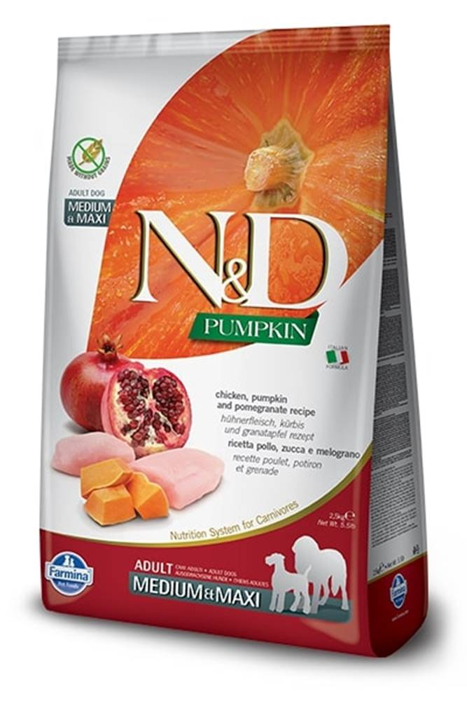 Natural&Delicious N&D dog GF PUMPKIN ADULT MEDIUM/MAXI chicken/pomegranate - 2,5kg