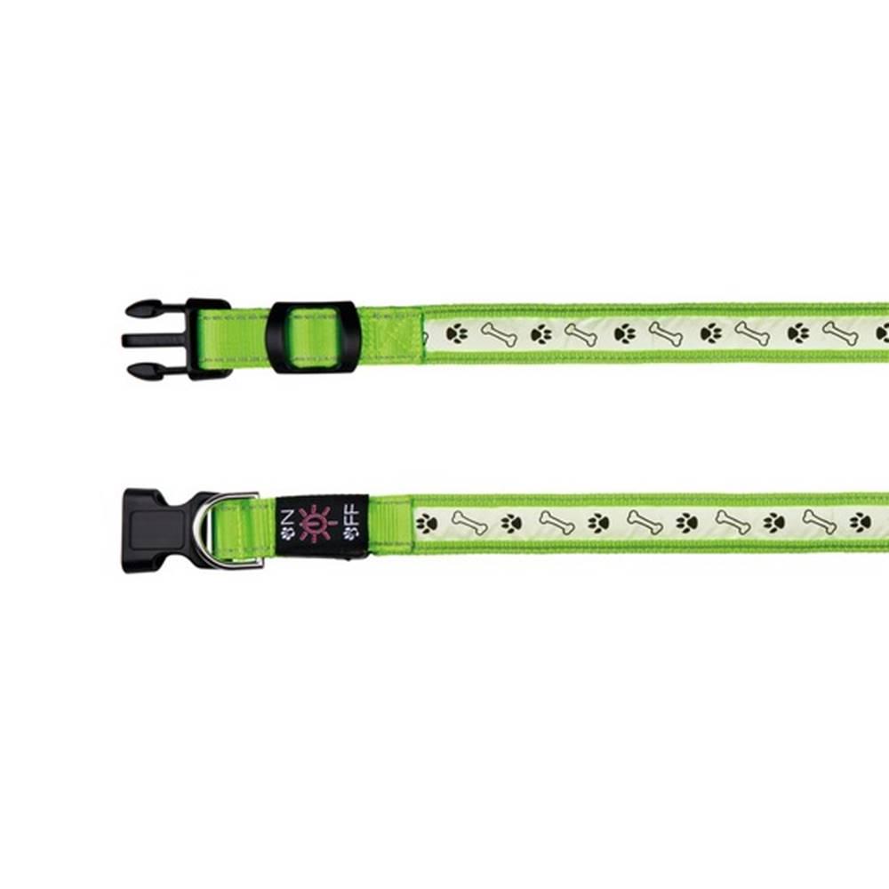 (bez zařazení) Obojok USB / svietiacu ZELENÝ - 2,5cm/30-40cm