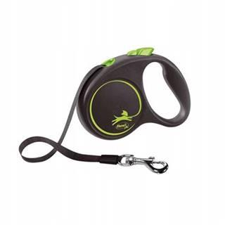 FLEXI Vodítko Black Design S pásik 5 m zelené