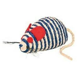 Hračka mačka Myš sisal s guličkami 10cm TR 1ks