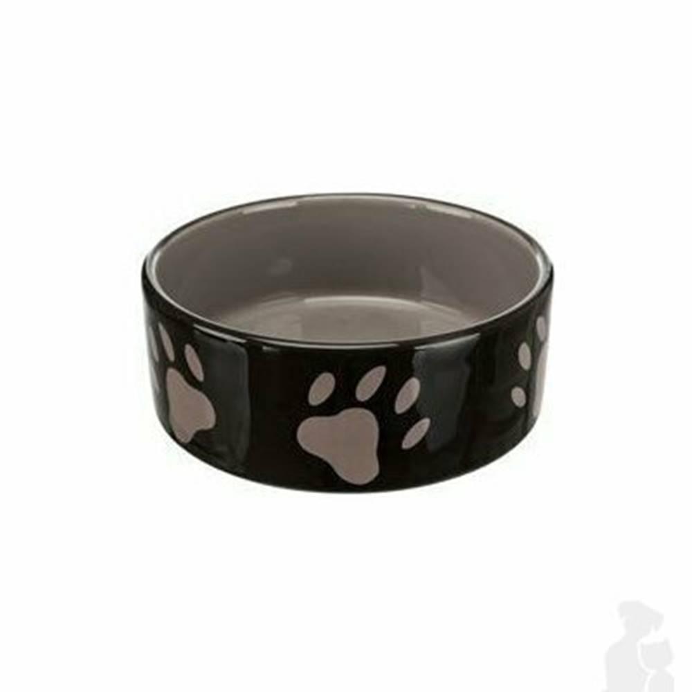 Trixie Miska keramická pes s Hnedá / tm.šedá s labka 1,4l 20cm