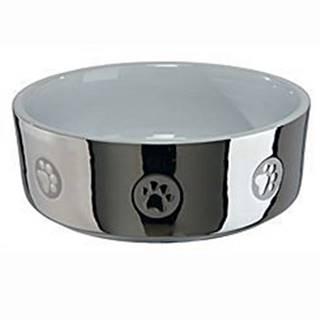 Miska keramická pes stříbrná s tlapkou 0,3l 12cm TR&
