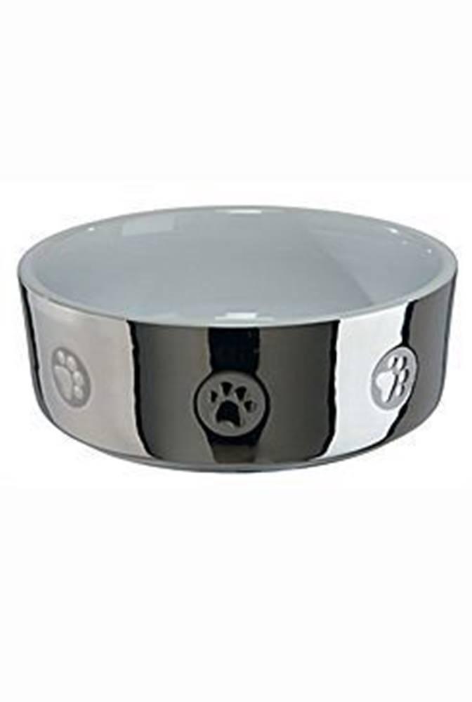 Trixie Miska keramická pes stříbrná s tlapkou 0,8l 15cm TR&