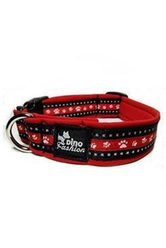 DINOFASHION Obojek DINOFASHION reflexní červený motiv tlapky50/3cm