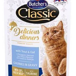 Butcher 's Cat Class.Delic.Dinn.pstruh + treska kapsa100g