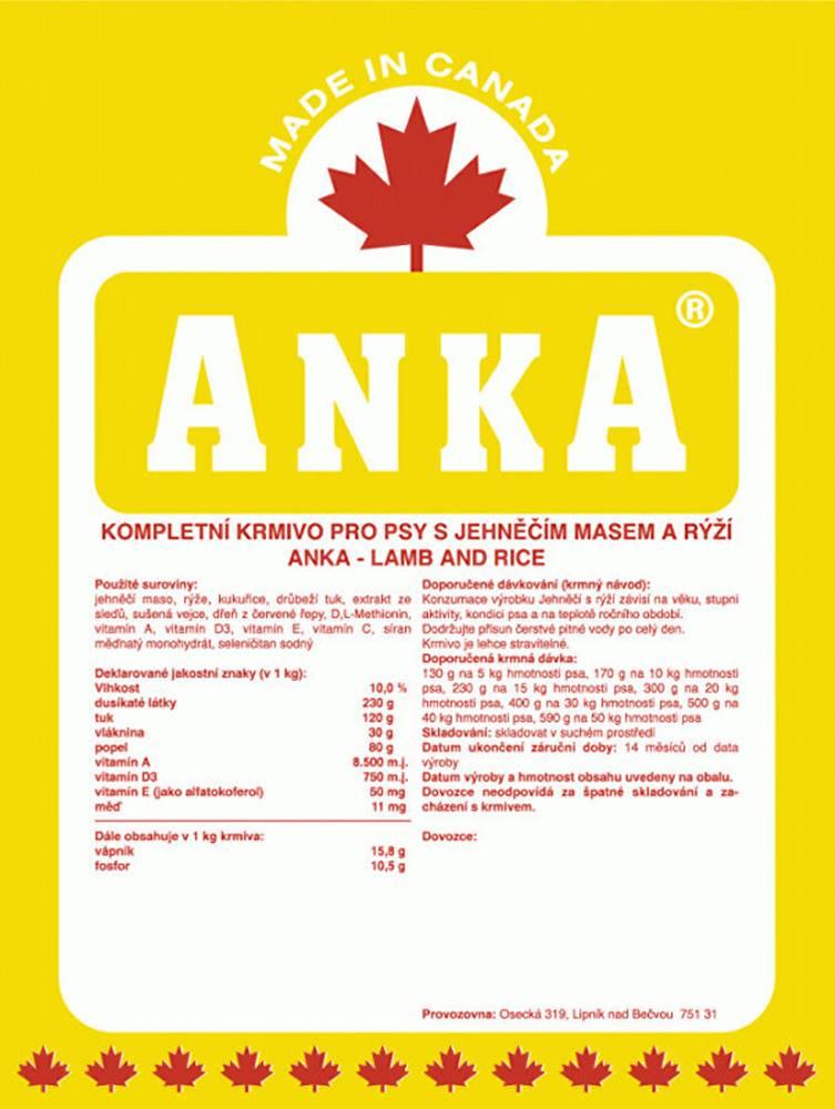 Anka Anka Lamb& Rice 18kg