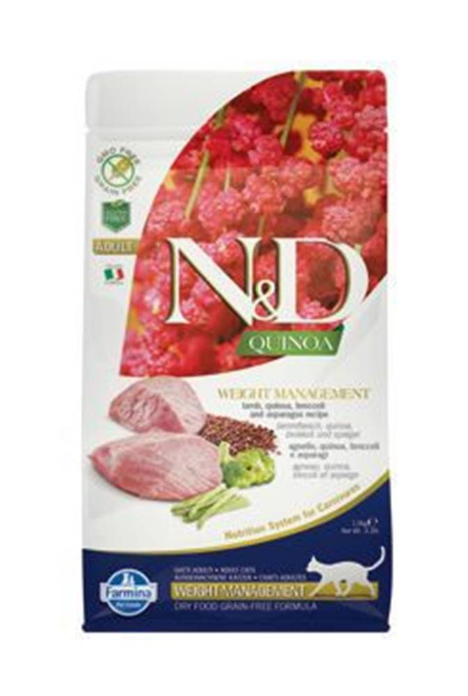 N&D N&D GF Quinoa CAT Weight Mngmnt Lamb & Broccoli 1,5kg