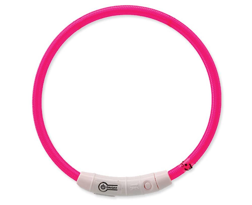 Dog Fantasy Obojek DOG FANTASY světelný USB růžový 45 cm 1ks