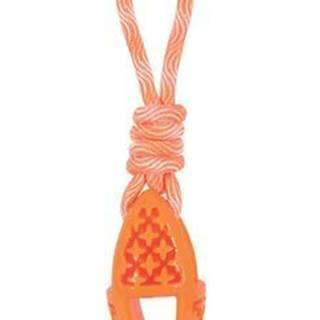 Hračka pes TPR SAMBA ovál s lanom oranžová Zolux