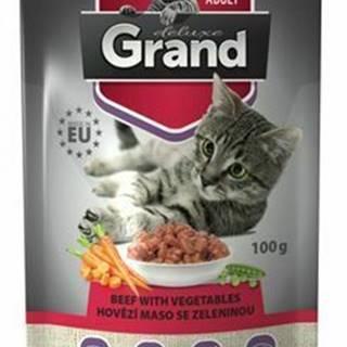 GRAND kaps. kočka deluxe 100% hovězí se zel.100g