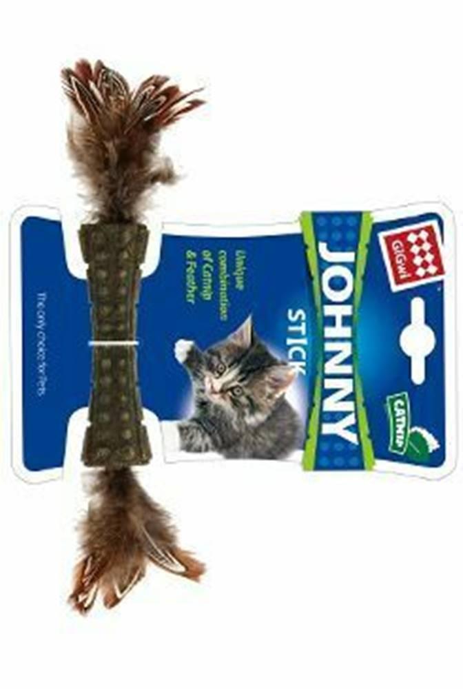 GiGwi Hračka mačka GiGwi Johnny Stick Catnip s pierkami